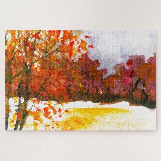 Quebra-cabeça Árvores abstratas do outono da arte da paisagem da
