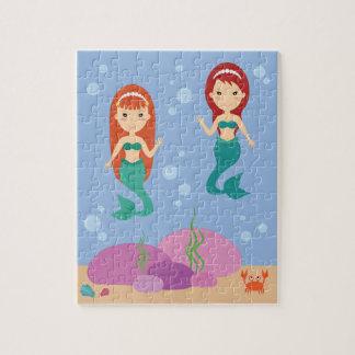 Quebra-cabeça As irmãs da sereia nos miúdos de ondulação do mar