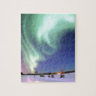 Quebra-cabeça Aurora Borealis, ou aurora boreal, Alaska
