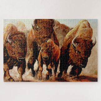 Quebra-cabeça Baffalo de carregamento/bisonte com vitela, touro