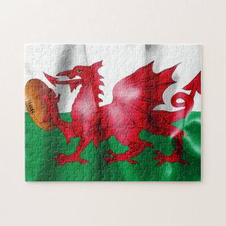 Quebra-cabeça Bandeira da bola de rugby do dragão de Galês