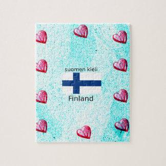 Quebra-cabeça Bandeira de Finlandia e design finlandês da língua