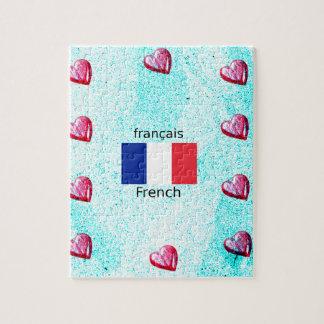 Quebra-cabeça Bandeira de France e design da língua francesa