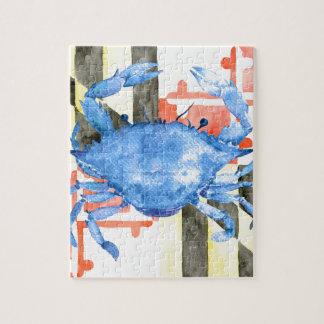 Quebra-cabeça Bandeira de maryland da aguarela e caranguejo azul