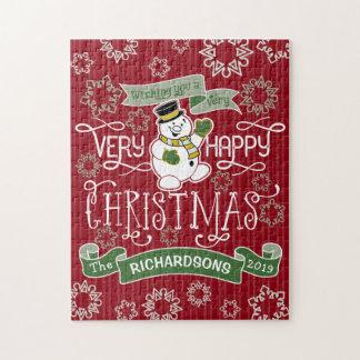 Quebra-cabeça Bandeira do costume da tipografia do Natal feliz