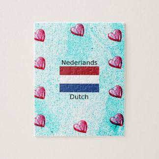 Quebra-cabeça Bandeira holandesa e design holandês da língua