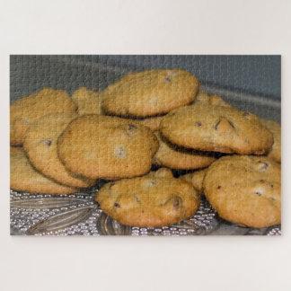 Quebra-cabeça Biscoitos dos pedaços de chocolate na foto da