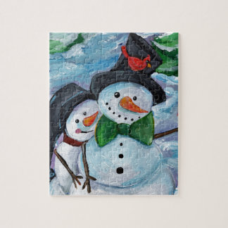 Quebra-cabeça Bonecos de neve de visita cardinais