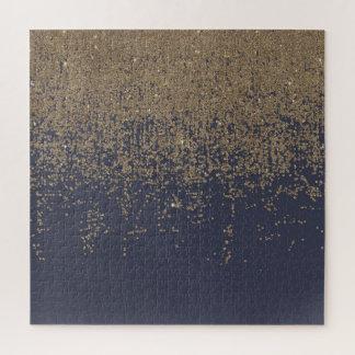 Quebra-cabeça Brilho Sparkly Ombre do ouro dos azuis marinhos