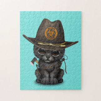 Quebra-cabeça Caçador bonito do zombi de Cub da pantera preta