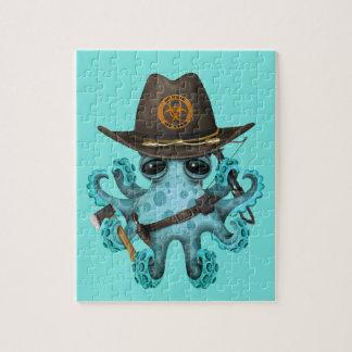 Quebra-cabeça Caçador do zombi do polvo do bebê azul