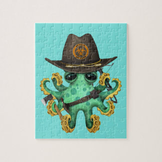 Quebra-cabeça Caçador verde do zombi do polvo do bebê