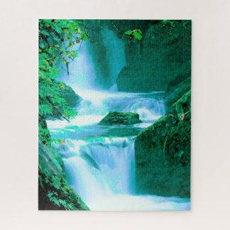 Quebra-cabeça Cachoeira sereno no azul e no verde