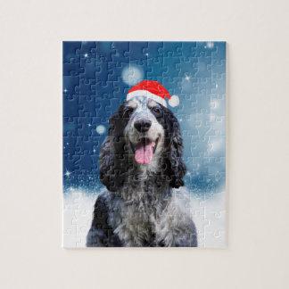 Quebra-cabeça Cão de cocker spaniel com o chapéu do papai noel