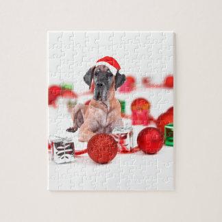 Quebra-cabeça Cão de great dane com presentes dos enfeites de