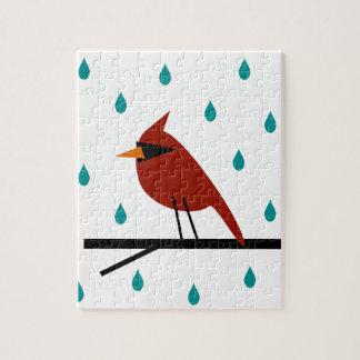 Quebra-cabeça Cardeal na chuva