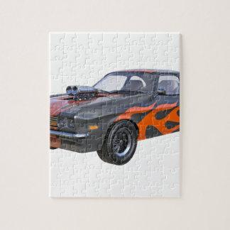 Quebra-cabeça carro do músculo dos anos 70 em chamas alaranjadas