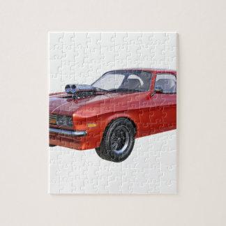 Quebra-cabeça carro do músculo dos anos 70 no vermelho