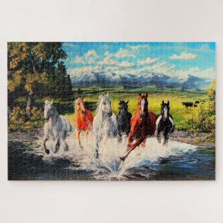 Quebra-cabeça Cavalos do rancho que funcionam através do rio