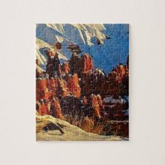 Quebra-cabeça cenas da rocha vermelha nevado