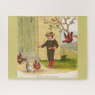 Quebra-cabeça cerca de 1900 que alimentam as galinhas