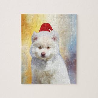 Quebra-cabeça Chapéu americano do papai noel do Natal do cão