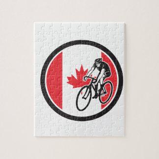 Quebra-cabeça Ciclista canadense que dá um ciclo o ícone da