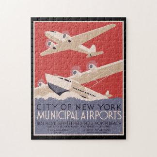 Quebra-cabeça Cidade do poster vintage de aeroportos do