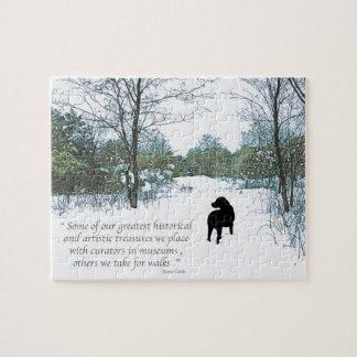 Quebra-cabeça Citações pretas de Labrador - tesouros