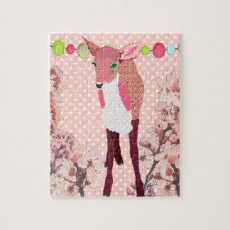 Quebra-cabeça cor-de-rosa bonito da arte da jovem