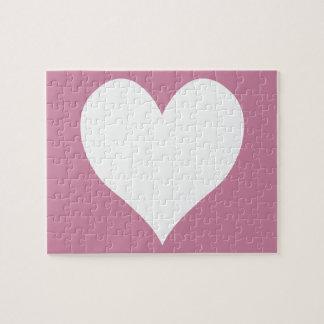 Quebra-cabeça Coração bonito cor-de-rosa e branco da caxemira
