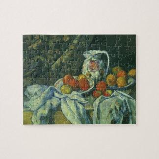 Quebra-cabeça Cortina e jarro florescido por Paul Cezanne