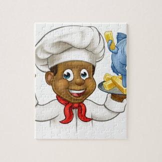 Quebra-cabeça Cozinheiro chefe do peixe com batatas fritas dos