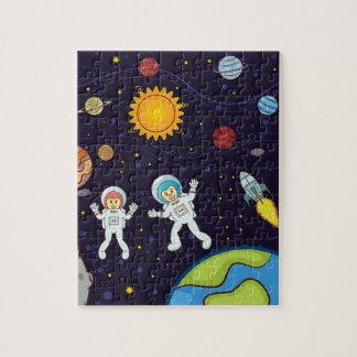 Quebra-cabeça da foto do espaço 8x10 com caixa de