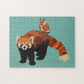 Quebra-cabeça da panda vermelha & da coruja