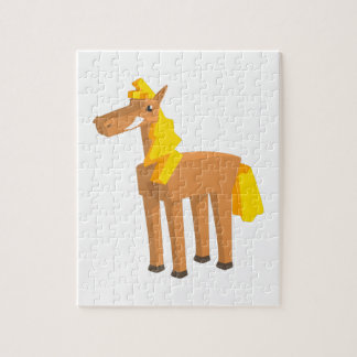 Quebra-cabeça Desenho do cavalo do brinquedo isolado no fundo