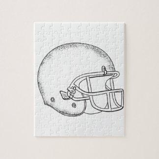 Quebra-cabeça Desenho preto e branco do capacete de futebol