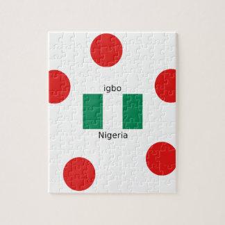 Quebra-cabeça Design da língua da bandeira e do Igbo de Nigéria