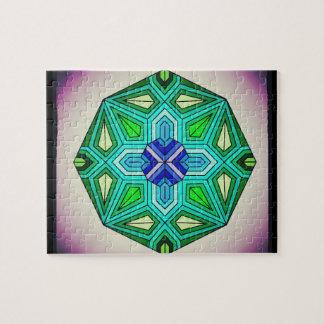 Quebra-cabeça Design de fascinação do Octagon do índigo