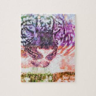 Quebra-cabeça Design do gato de Jaguar do arco-íris