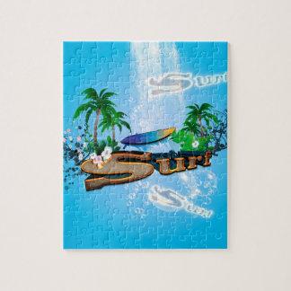Quebra-cabeça Design tropical com prancha, palma e flores
