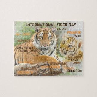 Quebra-cabeça Dia internacional do tigre, o 29 de julho, arte da