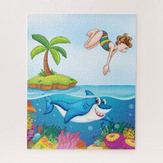 Quebra-cabeça do mergulhador do tubarão & da