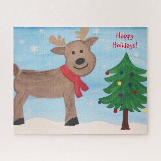 Quebra-cabeça do Natal da rena do feriado