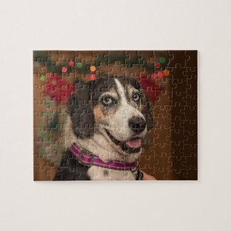 Quebra-cabeça do Natal do cão de cão do caminhante