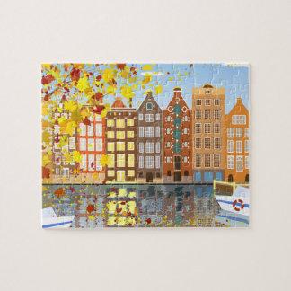 Quebra-cabeça do outono da cidade de Amsterdão com