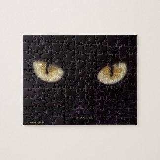 Quebra-cabeça dos olhos de gato preto