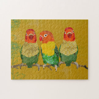 Quebra-cabeça dourado dos pássaros do amor