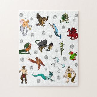 Quebra-cabeça Dungeon e dados e criaturas dos dragões
