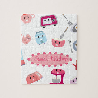 Quebra-cabeça Eletricidade cor-de-rosa doce da cozinha e ícone